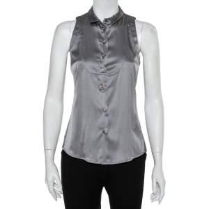 Emporio Armani Grey Silk Satin Button Front Paneled Sleeveless Shirt M