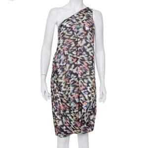 Emporio Armani Multicolor Printed Silk One Shoulder Shift Dress L