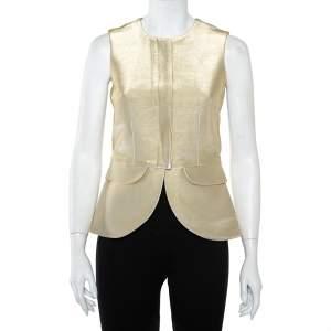 Emporio Armani Metallic Gold Cotton Sleeveless Gilet S
