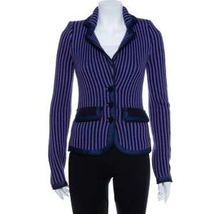 Emporio Armani Purple & Black Wool Button Front Jacket M