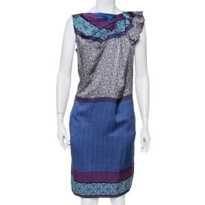 Emporio Armani Blue Printed Silk Draped Neck Detail Shift Dress M