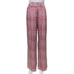 Emporio Armani Pink & Grey Printed Silk Palazzo Pants M