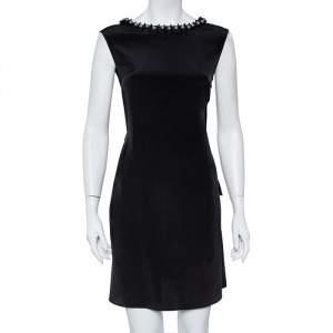 Emporio Armani Black Silk Embellished Neck Detail Shift Dress M
