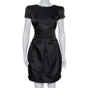 Emporio Armani Black Wool Pleated Mini Dress M