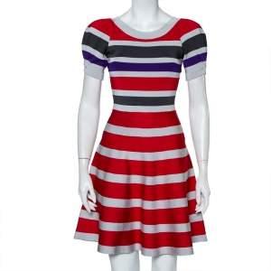 Emporio Armani Multicolor Striped Knit Puff Sleeve Mini Dress S