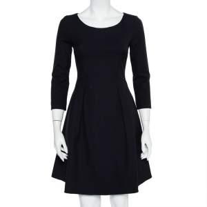Emporio Armani Midnight Blue Crepe A Line Midi Dress S