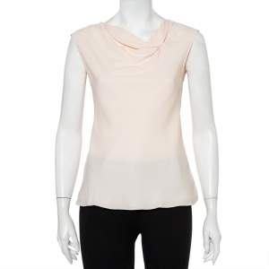 Emporio Armani  Pink Textured Crepe Draped Sleeveless Top S