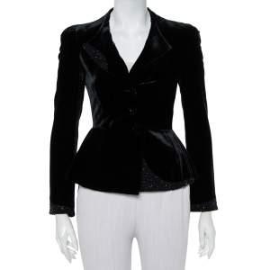 Emporio Armani Vintage Black Velvet Embellished Detail Button Front Blazer S