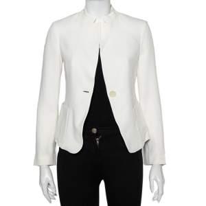 Emporio Armani White Crepe Button Front Blazer S
