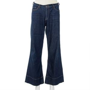 Emporio Armani Navy Blue Denim Flared Leg Cropped Jeans L
