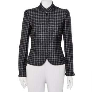 Emporio Armani Black Wool Jacquard Button Front Jacket M