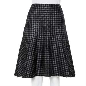 Emporio Armani Black Wool Jacquard Paneled Knee Length Skirt M
