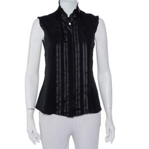 Emporio Armani Black Silk Pintuck Detail Button Front Shirt M