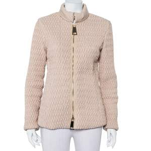 Emporio Armani Beige Quilted Synthetic Zip Front Jacket M