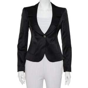 Emporio Armani Black Sateen Pleated Collar Detail Button Front Blazer M