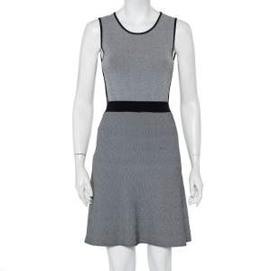 Emporio Armani Monochrome Patterned Knit Skater Dress S