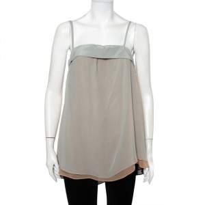 Emporio Armani Colorblock Layered Silk Chiffon Camisole M