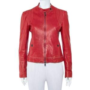 Emporio Armani Red Leather Zip Front Jacket M