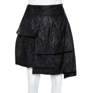 Emporio Armani Black Jacquard Layered Mini Skirt S