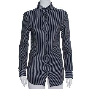 Emporio Armani Navy Blue Striped Cotton Knit Button Front Shirt S