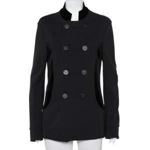 Emporio Armani Black Knit & Velvet Paneled Double Breasted Short Coat M