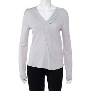 Emporio Armani Grey Knit Draped Detail Long Sleeve Top L
