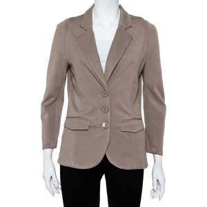 Emporio Armani Beige Modal Knit Button Front Lightweight Blazer M