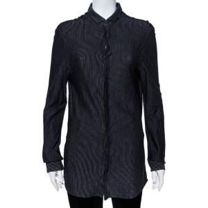Emporio Armani Black Striped Knit Long Sleeve Shirt M