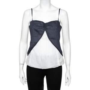 Emporio Armani Blue & White Layered Linen & Cotton Camisole M
