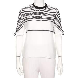 Emporio Armani White Cotton & Silk Striped Detail T-Shirt L