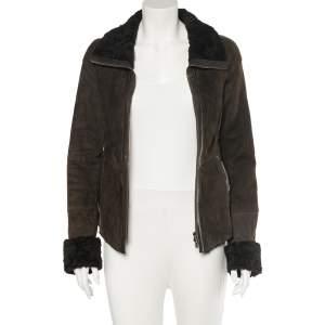 Emporio Armani Brown Fur Collar Detail Zip Front Jacket M