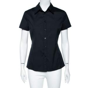 Emporio Armani Black Cotton Short Sleeve Front Button Shirt M