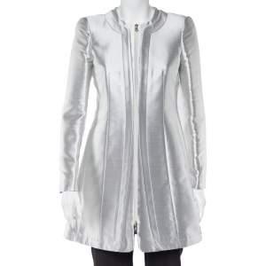Emporio Armani Silver Silk Blend Zip Front Coat S