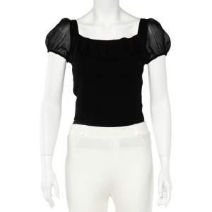 Emporio Armani Black Silk Smocked Sheer Top S