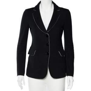 Emporio Armani Black Cotton Knit Button Front Jacket M