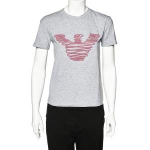 Emporio Armani Grey Cotton Logo Embroidered Crew Neck T-Shirt S