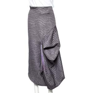 Emporio Armani Grey Textured Synthetic Tassel Trim Draped Midi Skirt M