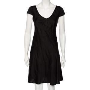 Emporio Armani Black Cotton Cap Sleeve Detail V-Neck Midi Dress M