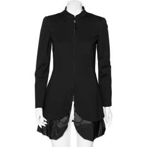 Emporio Armani Black Jersey & Synthetic Ruffled Hem Detail Coat M