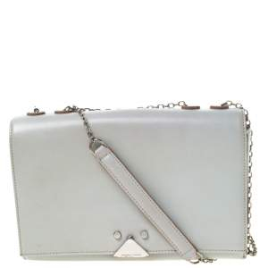 Emporio Armani Grey Leather Double Chain Shoulder Bag