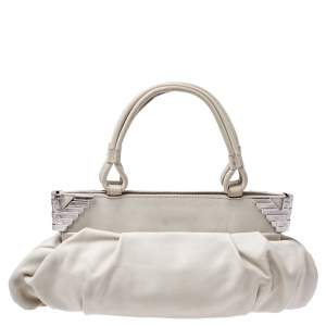 Emporio Armani Cream Leather Satchel