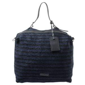 Emporio Armani Blue/Black Straw and Leather Hobo