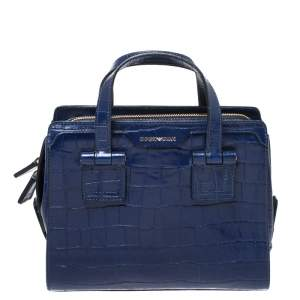 Emporio Armani Blue Croc Embossed Leather Satchel