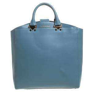 Emporio Armani Light Blue Leather Shopper Tote