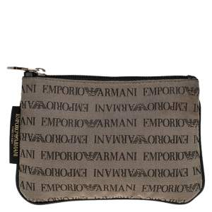 Emporio Armani Grey/Black Monogram Canvas Pouch