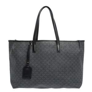 Emporio Armani Black Signature Coated Canvas and Leather Tote