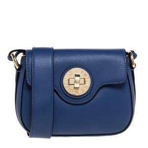 Emporio Armani Blue Leather Turnlock Crossbody Bag