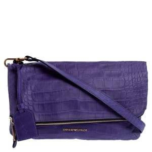 Emporio Armani Purple Croc Emboseed Leather Fold Over Shoulder Bag
