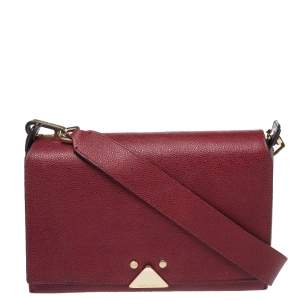 Emporio Armani Burgundy Leather Crossbody Bag