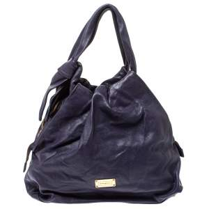 Emporio Armani Purple Soft Leather Knotted Handle Hobo